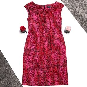 Tahari Red and Pink Vibrant Leopard Print Dress